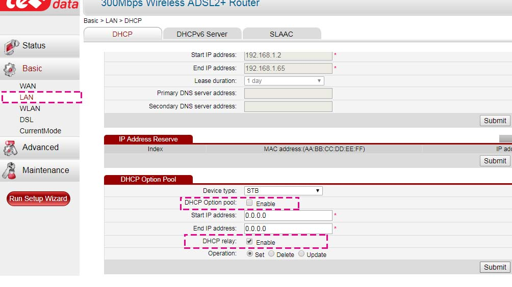 DHCP settings pool