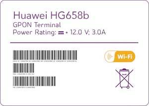 Huawei HG658b label